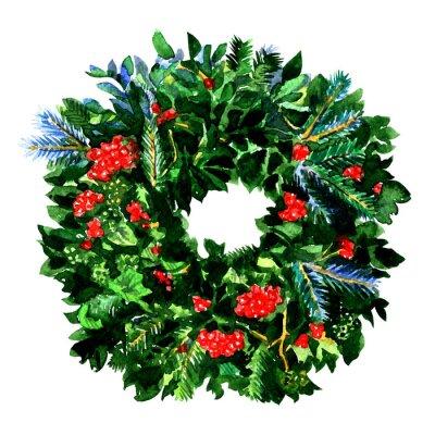 Guirlande de Noël hiver traditionnel avec baies de houx rouges, branches vertes à feuilles persistantes, isolé, illustration aquarelle