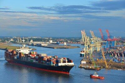 Sticker Hamburger Hafen, Containerschiff, Conteneur, Schlepper, Vorhafen, Elbe, Hambourg