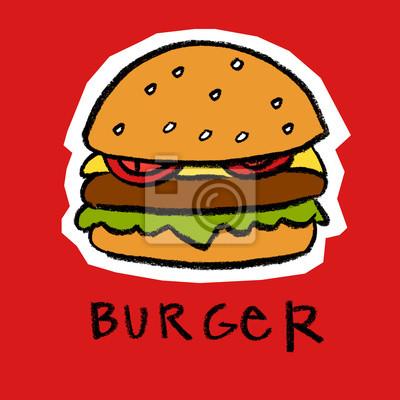 Hamburger sur fond rouge
