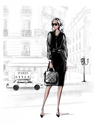 Sticker Hand drawn beautiful young woman in black dress. Fashion woman with bag. Girl in black shoes with Paris street background. Sketch. Fashion illustration.