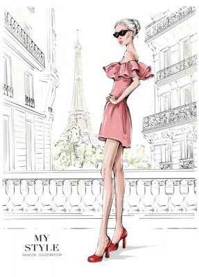 Sticker Hand drawn beautiful young woman in pink dress. Stylish girl in sunglasses. Woman in high heels. Fashion woman with Paris street background. Fashion illustration.