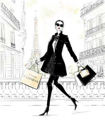 Sticker Hand drawn beautiful young woman with bags. Fashion look. Stylish girl in fashion clothes with Paris street background. Woman in black coat. Sketch. Fashion illustration.
