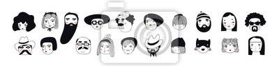 Sticker Hand drawn doodle set of people faces. Perfect for social media, avatars. Portraits of various men and women. Trendy black and white icons collection. Vector illustration. All elements are isolated