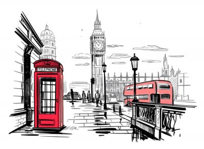 Sticker hand drawn landscape of London city