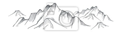Sticker Hand drawn mountain on a white background. Vector