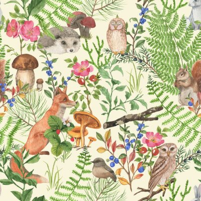Sticker Hand drawn seamless pattern with watercolor forest animals and plants. Pattern for kids wallpaper, wood inhabitants, cute animals
