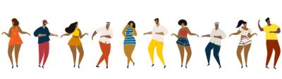 Sticker Hand drawn vector illustration of various people - men and women of diverse multi-racial background dancing happy fun dance. Seamless banner.