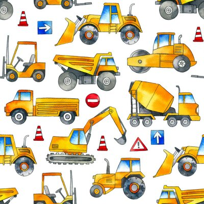 Sticker Hand painted construction cars seamless watercolor pattern on white background.