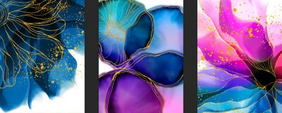 Sticker Handmade abstract art background with watercolor, inks stain, spots elements with purple, green and blue color. Elegant gold veins wallpaper.