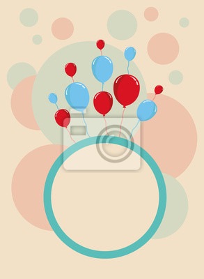 Happy Birthday Card Design Template With Circular Pattern Stickers
