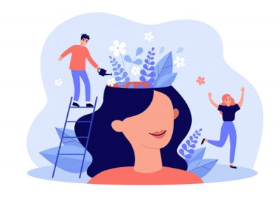 Sticker Happy girl having great mental health and positive mood. Tiny man watering flowers inside womans head. For psychology, genius, growth, development, intelligence concept