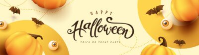 Sticker Happy Halloween banner or party invitation background with pumpkins Festive Elements Halloween