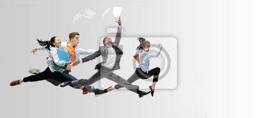 Sticker Happy office workers jumping and dancing in casual clothes or suit with folders on white. Ballet dancers. Business, start-up, working open-space, motion and action concept. Creative collage. Copyspace