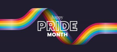 Sticker Happy Pride month text and rainbow pride ribbon roll wave on dark background vector design