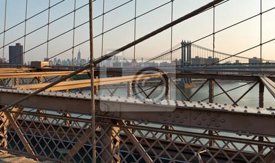 Hazy, ville, Horizon, bruxelles, pont, Coucher soleil
