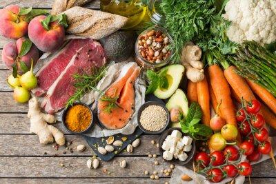 Sticker Healthy food for balanced flexitarian mediterranean diet concept