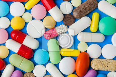 Sticker Heap of pills - medical background