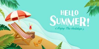 Sticker Hello summer holiday beach vacation theme horizontal banner.