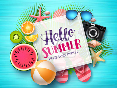 Sticker Hello summer vector banner template. Hello summer text in white space boarder with colorful beach elements like tropical fruits a beach ball in blue wood textured background. Vector illustration.