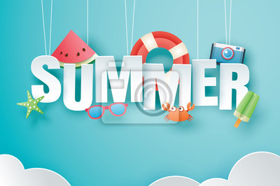 Sticker Hello summer with decoration origami hanging on blue sky background. Paper art and craft style. Vector illustration of life ring, ice cream, camera, watermelon, sunglasses.