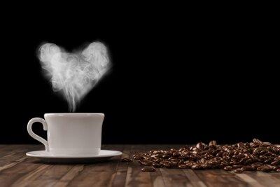 Sticker Herz aus Dampf dans la Tasse Kaffee
