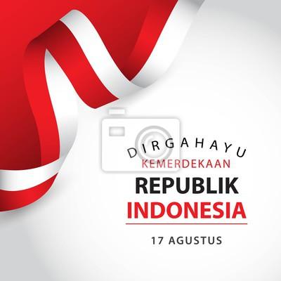 Sticker Heureuse fête de l'Indonésie indépendante Vector Template Design Illustration