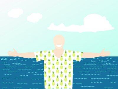 Heureux, touriste, bord mer