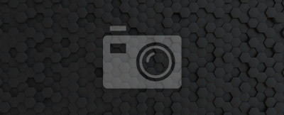 Sticker Hexagonal dark grey, black background texture, 3d illustration, 3d rendering