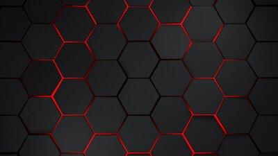 Sticker Hexagones gris et rouges illustration de fond moderne