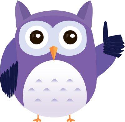 Sticker Hibou de vecteur violet Mignon montre pouce vers le haut