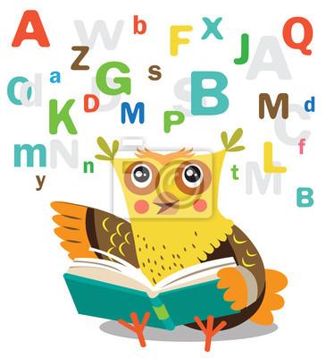 Sticker Hibou Drole Apprendre A Lire Le Livre Sur Un Fond Blanc Illustrations