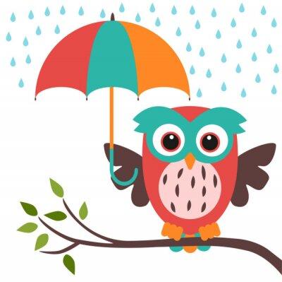 Sticker hibou et parapluie pluie