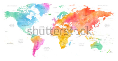 Sticker High detailed Multicolor Watercolor World Map Illustration with borders, oceans and countries on white Background, Side View.