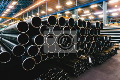 Sticker high quality Galvanized steel pipe or Aluminum and chrome stainless pipes in stack waiting for shipment  in warehouse