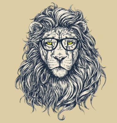Sticker Hipster vecteur lion illustration. Lunettes séparés.