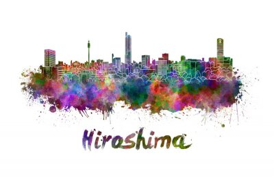 Sticker Hiroshima, Horizon, aquarelle