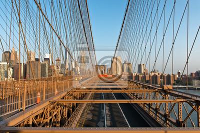 Historique, brooklyn, pont, Manhattan, Coucher soleil