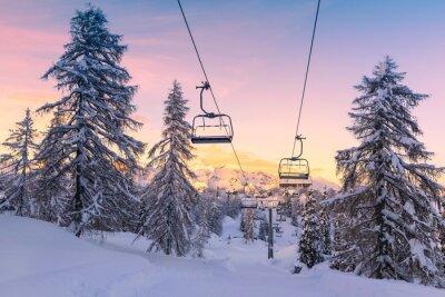 Sticker Hiver, montagnes, panorama, ski, pentes, téléskis