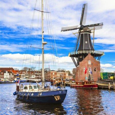 Sticker Hollande, canaux Haarlem. moulin à vent et bateau à voile