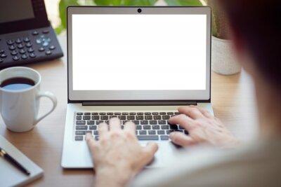Sticker Homme avec ordinateur portable au bureau avec écran blanc