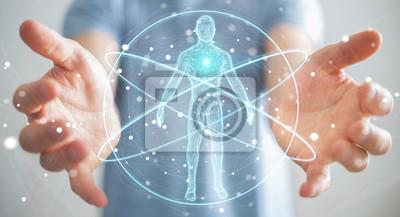 Sticker Homme d'affaires à l'aide de l'interface de numérisation de corps humain de rayons X numériques rendu 3D
