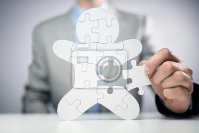 Sticker Homme d'affaires, assemblage de puzzle, employé de l'équipe humaine