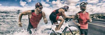 Sticker Homme de bannière de sport triathlon courir, nager, faire du vélo pour le fond de compétition. Triathlete nager le vélo course composite.