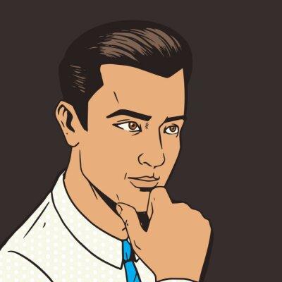 Sticker Homme, penser, dur, pop art, Style, vecteur