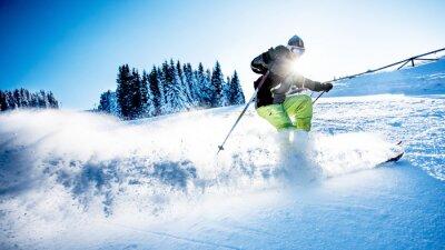 Sticker Homme, ski, descendre