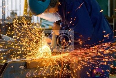 Sticker hommes à l'acier de meulage de travail