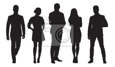 Sticker Hommes et femmes d'affaires, groupe de personnes au travail. Silhouettes de vecteur isolé
