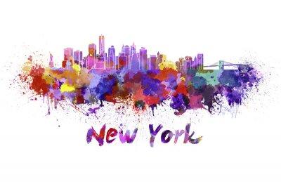 Sticker Horizon de New York à l'aquarelle