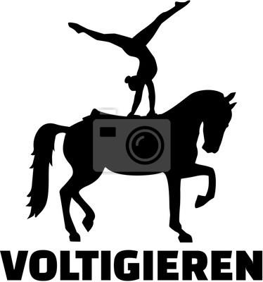 Horse Voltige silhouette avec le mot allemand Voltigieren