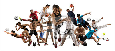 Sticker Huge multi sports collage athletics, tennis, soccer, basketball, etc